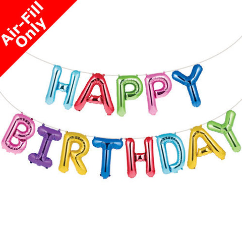 Happy Birthday Balloon Banner with Ribbon