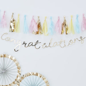 Gold Congratulations Bunting - Pick and Mix Range by Ginger Ray