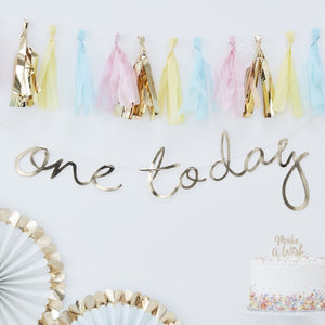 Gold One Today Bunting - Pick and Mix Range by Ginger Ray