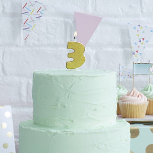 Gold Glitter Birthday Candle - Number 3