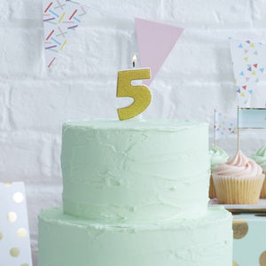 Gold Glitter Birthday Candle - Number 5