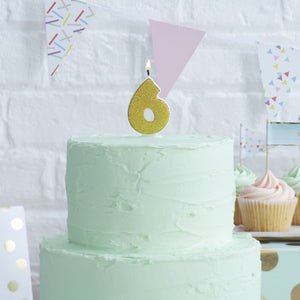Gold Glitter Birthday Candle - Number 6
