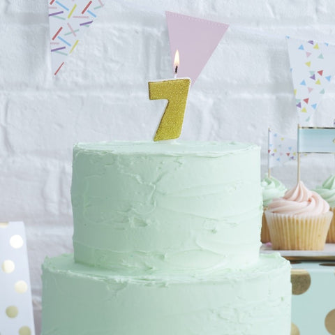 Gold Glitter Birthday Candle - Number 7