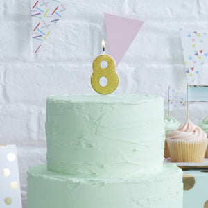 Gold Glitter Birthday Candle - Number 8