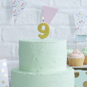Gold Glitter Birthday Candle - Number 9