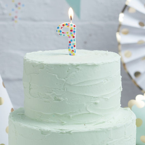 Polka Dot Birthday Candle - Number 9