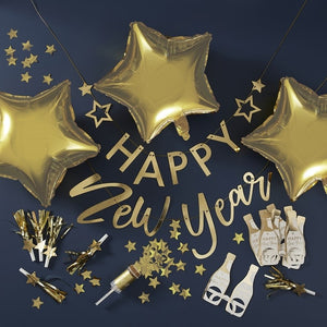 Gold Foiled Happy New Year Party In A Box Decorations - Pop The Bubbly - Ginger Ray