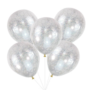 Silver Angel Hair Confetti Balloons - Pop The Bubbly - Ginger Ray