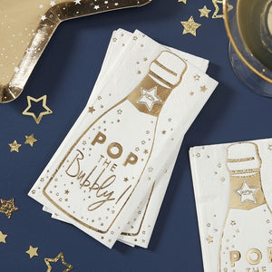 Champagne Bottle Shaped Paper Party Napkins - Pop The Bubbly - Ginger Ray