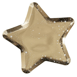 Gold Star Shaped Paper Party Plates - Pop The Bubbly - Ginger Ray