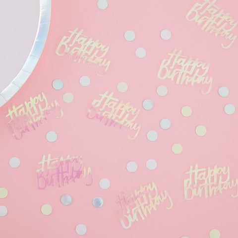 Happy Birthday Iridescent Table Confetti - Pastel Party Range by Ginger Ray
