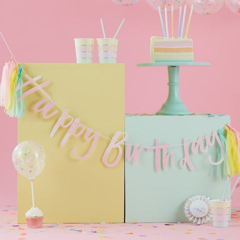 Happy Birthday Iridescent Bunting With Tassels - Pastel Party Range by Ginger Ray