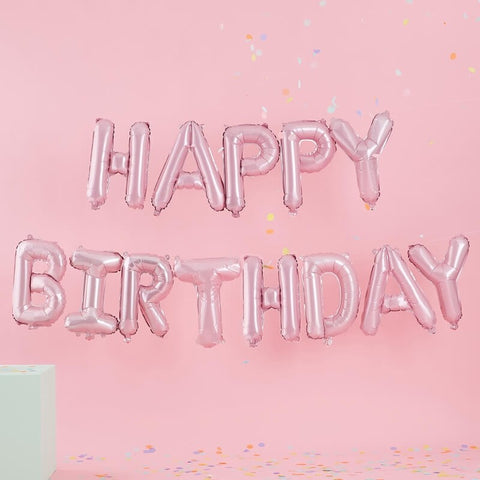 Matte Pink Happy Birthday Balloon Bunting - Pastel Party Range by Ginger Ray