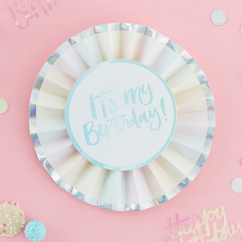 Its My Birthday Iridescent Birthday Badge - Pastel Party Range by Ginger Ray