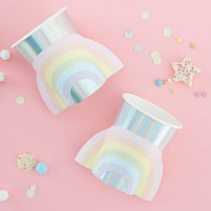 Rainbow & Iridescent Paper Cups - Pastel Party Range by Ginger Ray