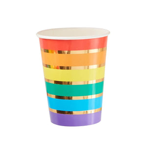 Rainbow & Gold Foiled Paper Party Cups - Over the Rainbow Range by Ginger Ray
