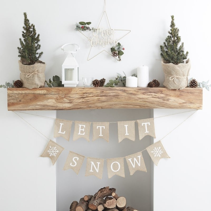 Hessian Burlap Let It Snow Bunting - Rustic Christmas