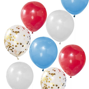 Red White Blue & Gold Confetti Balloons - Party Like Royalty - Ginger Ray