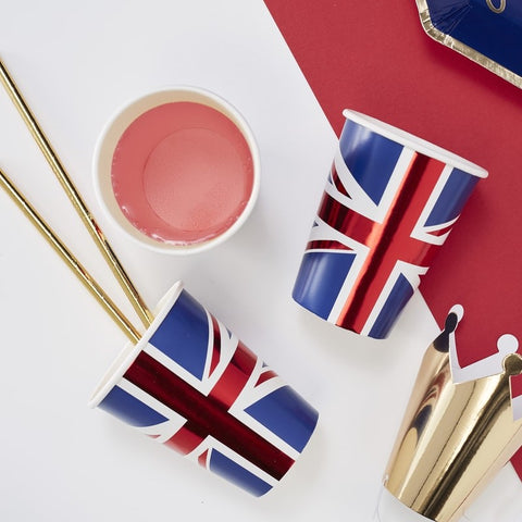 Union Jack Paper Cups - Party Like Royalty - Ginger Ray