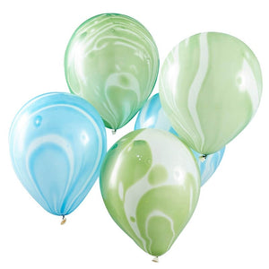 Green and Blue Marble Party Balloons - Roarsome Range by Ginger Ray