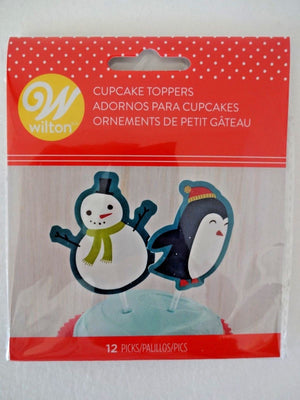 Snowman & Friends Cupcake Pick Toppers - Wilton - 12 Pack