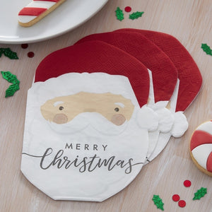 Santa Shaped Christmas Paper Napkins - Silly Santa - Ginger Ray