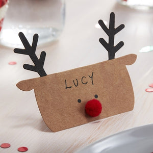 Kraft Reindeer Shaped Christmas Place Cards - Silly Santa -