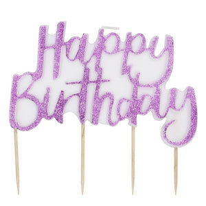 Pink Glitter Happy Birthday Cake Candle - Stargazer - Ginger Ray
