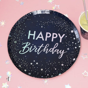 Irridescent Foiled Happy Birthday Paper Plates - Stargazer - Ginger Ray