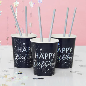 Irridescent Foiled Happy Birthday Paper Cups - Stargazer - Ginger Ray