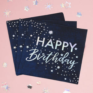 Irridescent Foiled Happy Birthday Paper Napkins - Stargazer - Ginger Ray