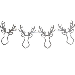 Silver Glitter Wooden Stag Head Bunting - Silver Christmas