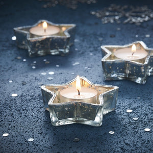 Silver Star Glass Tea Light Holder - Silver Christmas