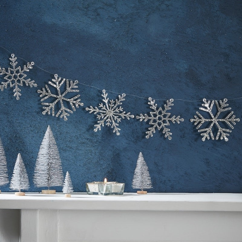 Silver Glitter Snowflake Garland - Silver Christmas