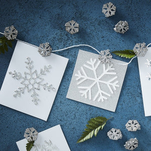 Glitter Snowflake Peg and String Card Holder - Silver Christmas