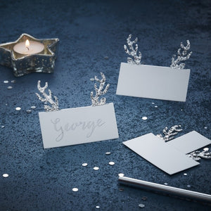 Silver Glitter Antler Place Cards - Silver Christmas