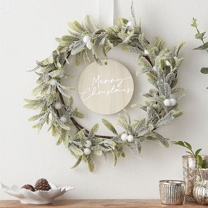 Misletoe and Merry Christmas Door Wreath