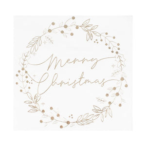 Gold Foiled Merry Christmas Wreath Christmas Napkins - Ginger Ray