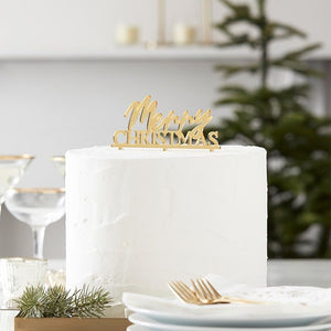 Merry Christmas Gold Acrylic Cake Topper - Ginger Ray