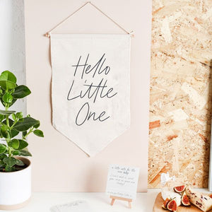 Hello Little One Canvas Sign with Notes by Hootyballoo