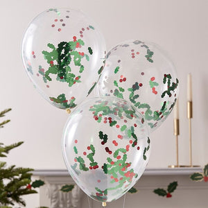 Christmas Holly and Berries Confetti Party Balloons