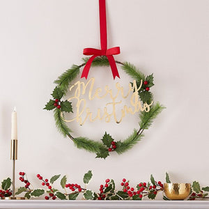 Merry Christmas Acrylic Gold Foliage Wreath