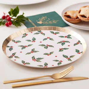 Christmas Holly Leaf Paper Party Plates