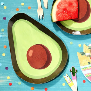 Avocado Shaped Paper Plates - Viva La Fiesta Range by Ginger Ray