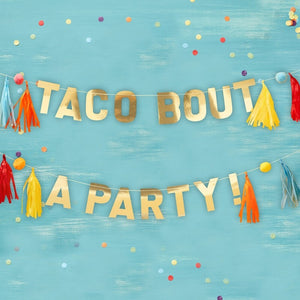 Gold Taco Party Pompom And Tassel Party Bunting - Viva La Fiesta Range by Ginger Ray