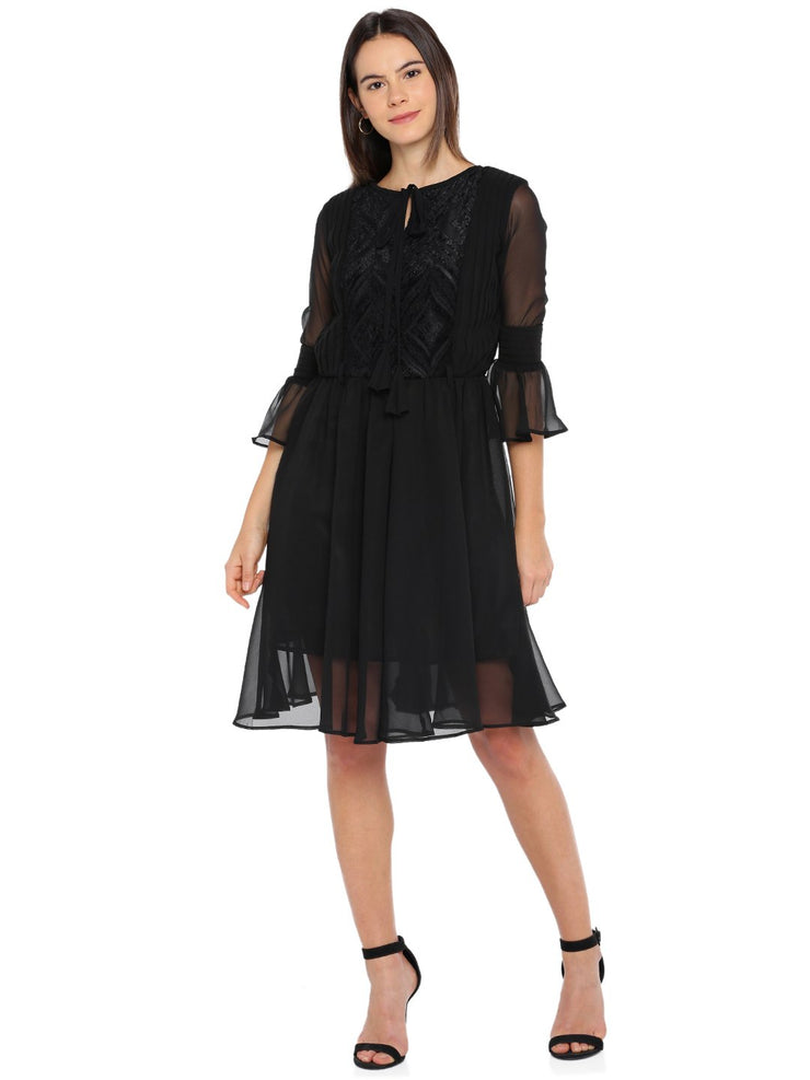 Black Gathered Dress with Circular Flounce Sleeves