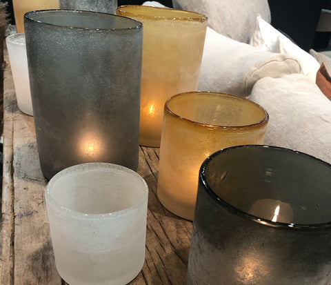 Frosted glass candle holders