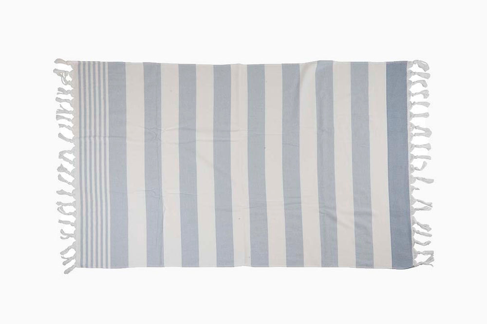 blue and white stripe towel