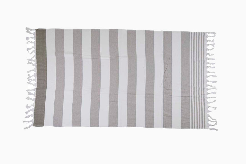 grey and white striped towel