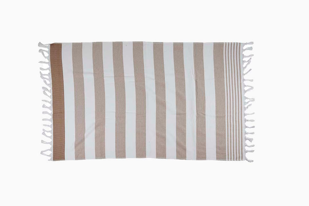 sand and white stripe towel